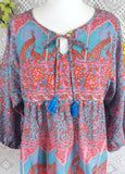 Handmade tops-Aqua / Pink / Coral Indian Peacock Paisley Smock Top - Cotton - Size M/L-vintage clothing brighton-worldwide delivery