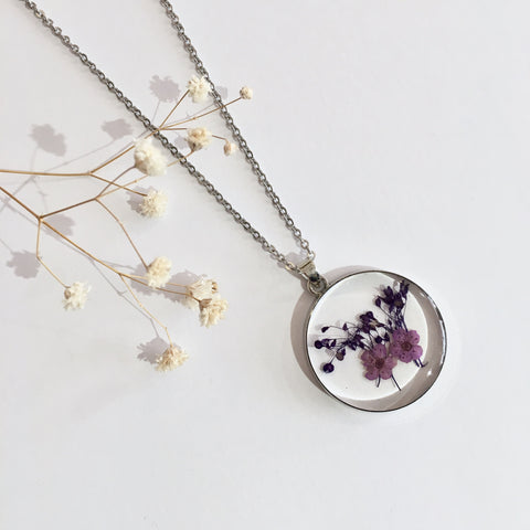 Round Dried Flower Necklace -  Small Lilac & Dark Purple