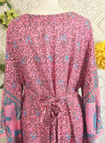 Pink & Blue/Grey Peacock Floral Maxi Button Down Dress/Kimono Size M/L