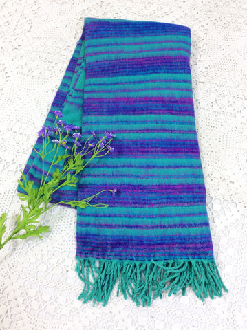 Shawl-Aqua Blue/Purple Striped Indian Shawl/Blanket-vintage clothing brighton-worldwide delivery