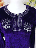 Vintage Velvet Embroidered Long Sleeve Top - Deep Purple & Silver - Size S