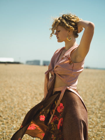 Vintage Wrap Top and Wrap Skirt - Pink and Rosewood Floral S/M