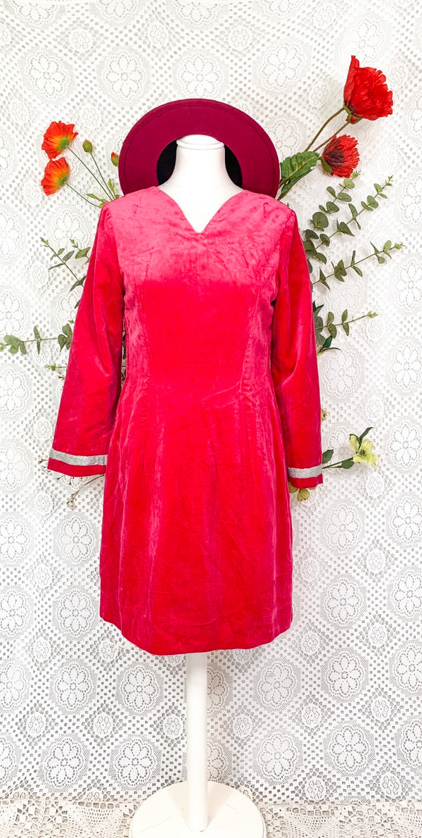 Vintage Pink Heavy Velvet Dress - Size - S/M
