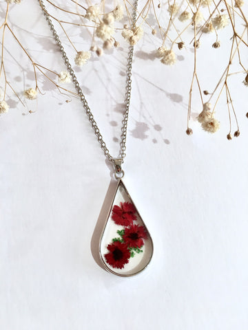 Red Dried Flower Necklace (Large)