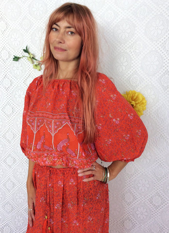Coral/Orange Peacock Paisley 2 Piece (Free Size) - Top & Skirt