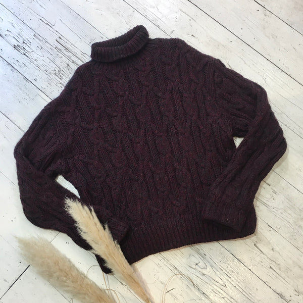 Chunky Burgundy Aran Knitted Turtleneck - Size M/L