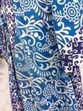 Aquaria Kimono Dress - Vintage Indian Cotton - Navy /Blue / White Floral
