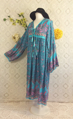 Aqua Blue/Lilac Peacock Midi Smock Dress - Size M/L
