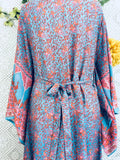 Handmade kimono-Aqua/Pink/Coral Peacock Floral Maxi Button Down Dress/Kimono Size M/L-vintage clothing brighton-worldwide delivery