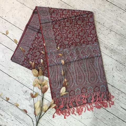 Indian Pashmina Shawl - Crimson & Teal Paisley