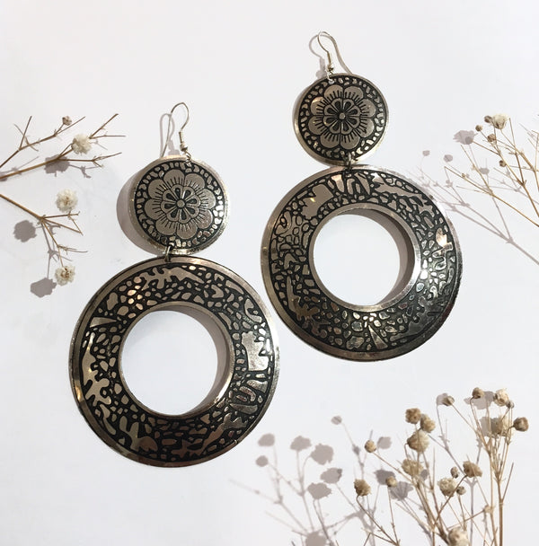 Silver Colour Circle Detailed Earrings