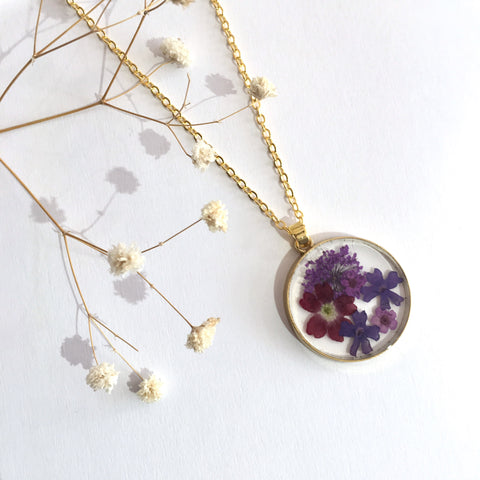 Gold Coloured Round Dried Flower Necklace -  Small Mixed Flowers