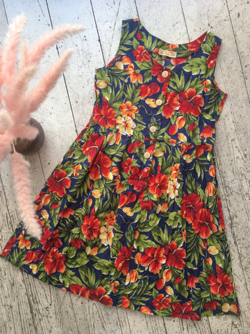 Bold Navy Blue Floral Retro Day Dress - Size S/M