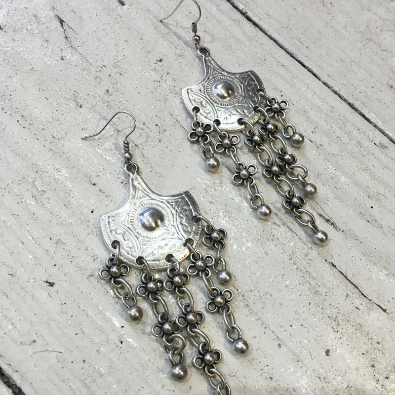 Silver Plated Turkish Flower Chain Earrings