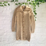 Vintage Chunky Knitted Cardigan - Pale Orange - M/L