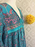 handmade dresses-Aqua Blue/Lilac Peacock Midi Smock Dress - Size S/M-vintage clothing brighton-worldwide delivery