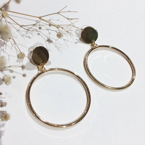 Brass Studded Dangly Hoops