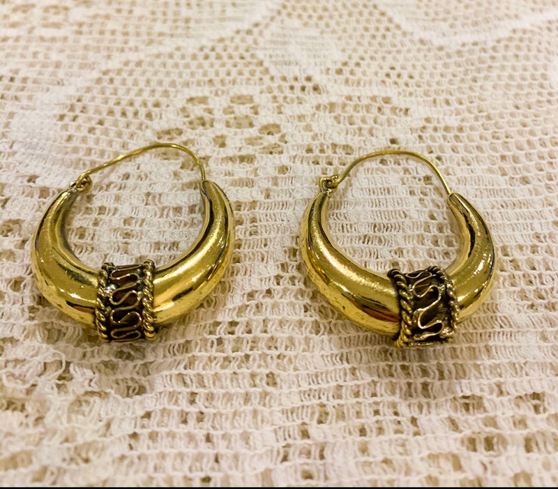 Medium Gold Painted Brass Earrings