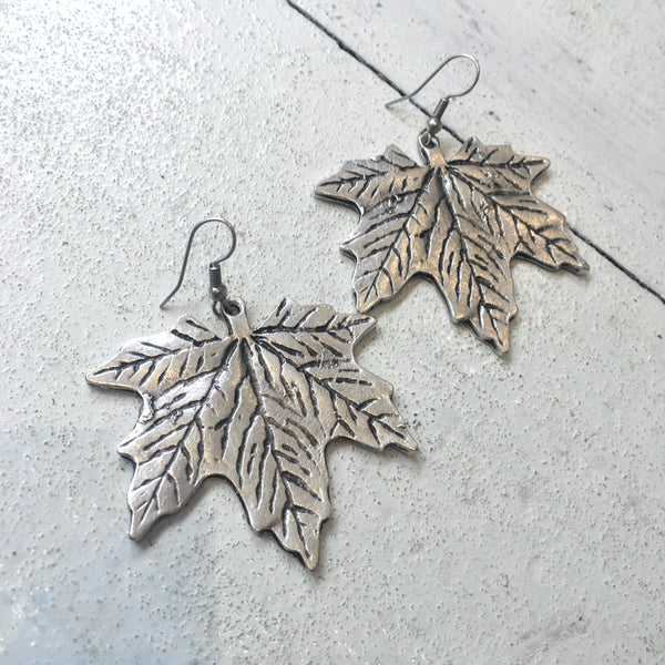 Silver Plated Maple Leaf Earrings
