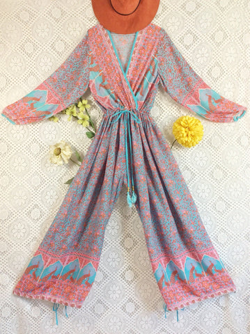 Indian Peacock Drawstring Wide Leg Jumpsuit - Aqua Pink Orange - Size S