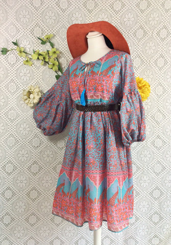 e08a7295a5c2 Aqua / Pink / Coral Peacock Paisley Floral - Short Smock Dress - Size S/