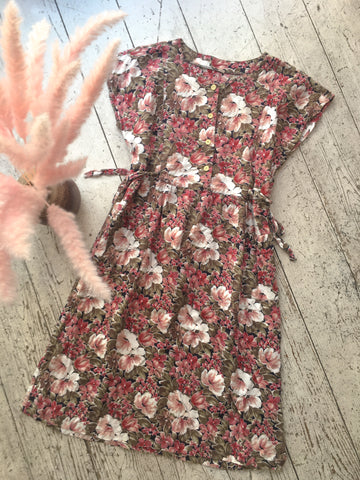 Cherry Pink Floral Retro Day Dress - Size M