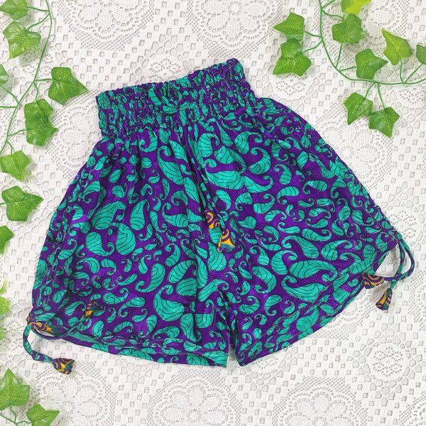 Pippa Shorts - Vintage Indian Sari Shorts -  Cadbury's Purple & Mint Green Paisley - Size XS