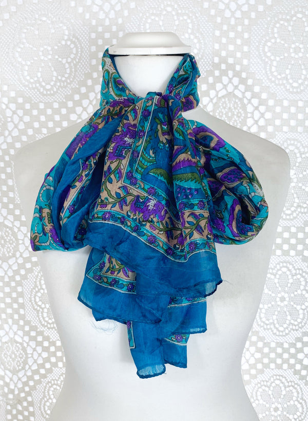 Pure Silk Indian Scarf - Turquoise & Purple