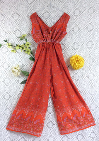 SALE - Indian Peacock Sleeveless Jumpsuit - Orange / Pink - Size S/M