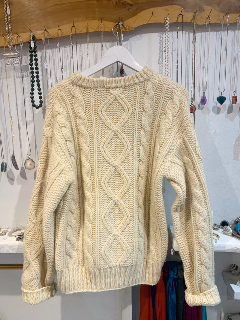 Vintage Cream Arran Cable Knit Wool Jumper - Size - M - L