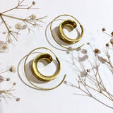 Gold Colour Brass Spiral Earrings