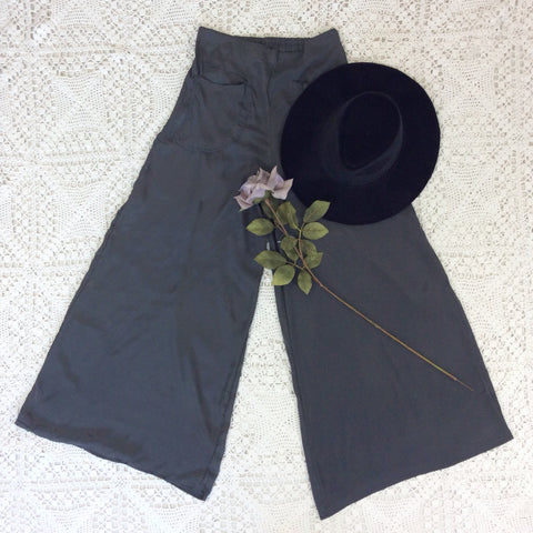 Block Colour Wide Flares with Pockets - Graphite Grey Silk Mix - S/M