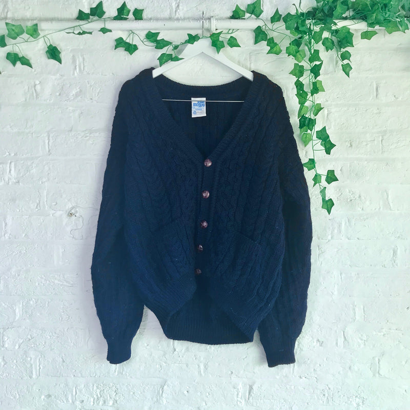 Vintage Navy Knitted Cardigan - M/L