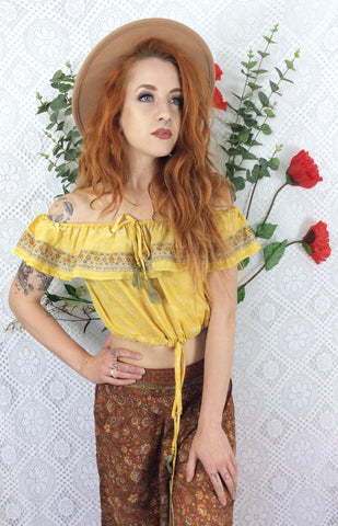 Bella Bardot Top (free size) Sunshine Yellow Floral