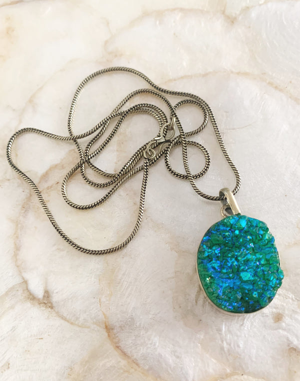 Gold Green Druzy Crystal Necklace Pendant