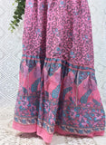 Pink Peacock Paisley Floral Cotton 2 Piece (Free Size) - Top & Skirt