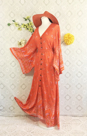 Coral/Orange & Pink Peacock Floral Maxi Button Down Dress/Kimono Size M/L