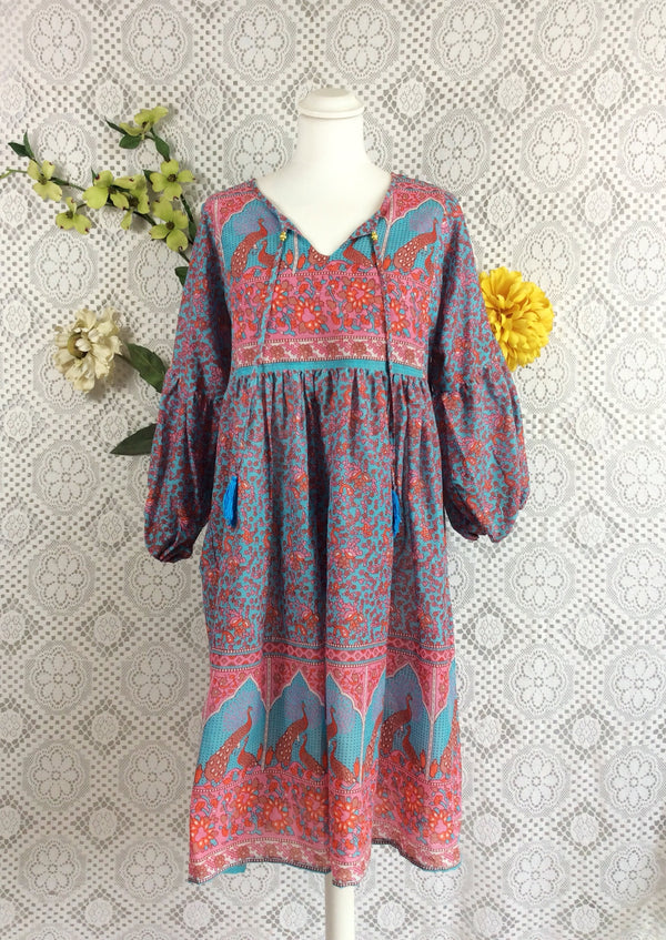 Aqua / Pink / Coral Peacock Paisley Floral - Short Smock Dress - Size M/L