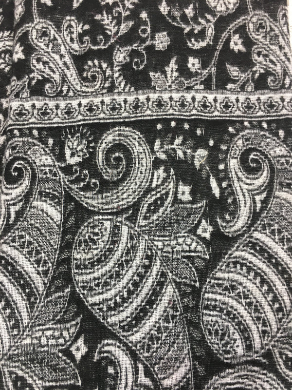 Monochrome Reversible Striped Bold Paisley Indian Shawl/Blanket