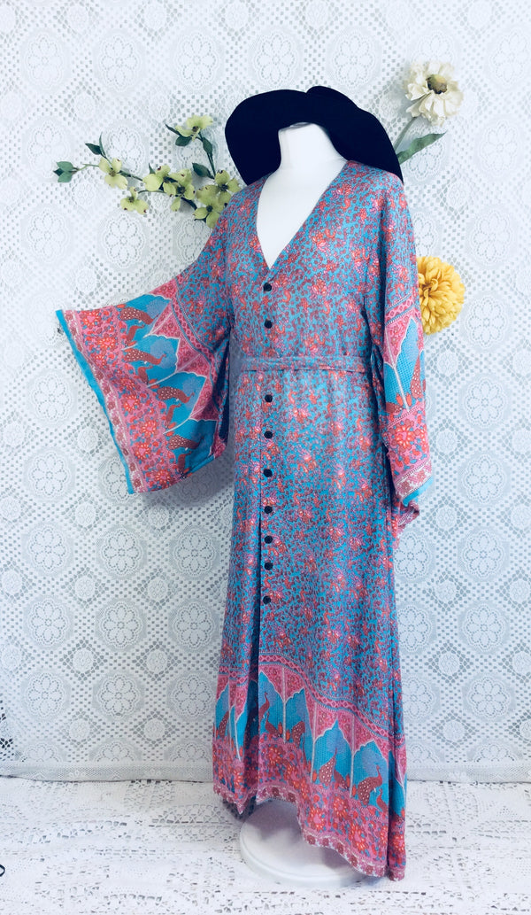 Aqua/Pink/Coral Peacock Paisley Cotton - Maxi Button Down Dress/Kimono - S/M
