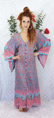 Aqua/Pink/Coral Peacock Floral Maxi Button Down Dress/Kimono Size S/M