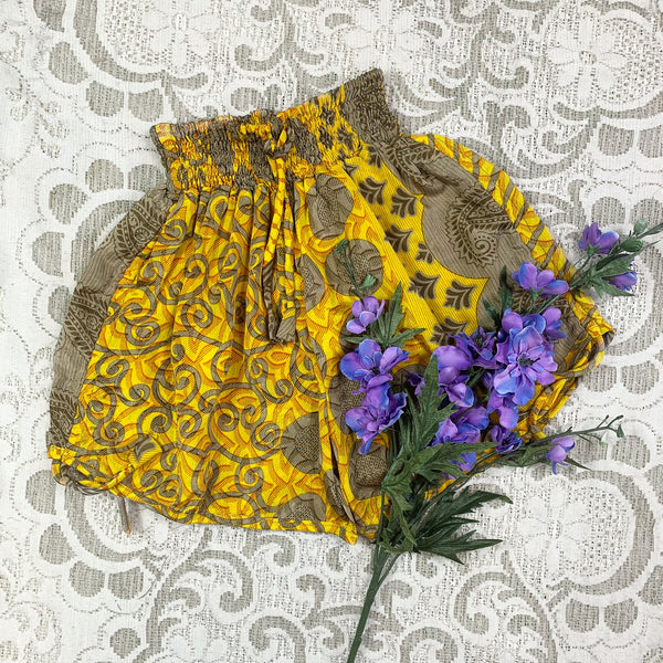 Pippa Shorts - Vintage Indian Sari Shorts - Honey & Sand Paisley - Free Size M/L