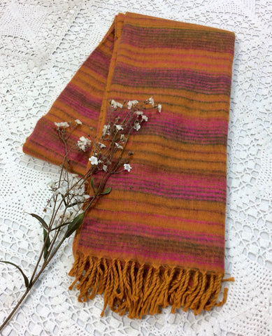 Turmeric/Amber, Moss & Pink Striped Reversible Indian Shawl/Blanket