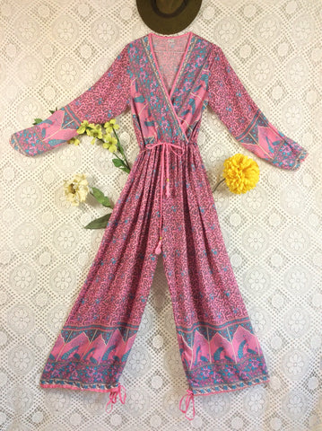 Indian Peacock Drawstring Wide Leg Jumpsuit - Pink/Lilac - Size S