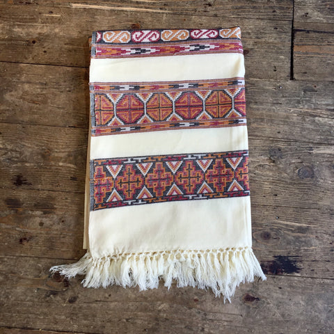 Ivory White/Cream Scarf/Blanket with Embroidery