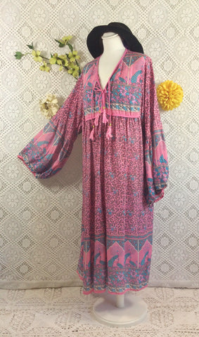 Pink/Blue Peacock Midi Smock Dress - Size S/M