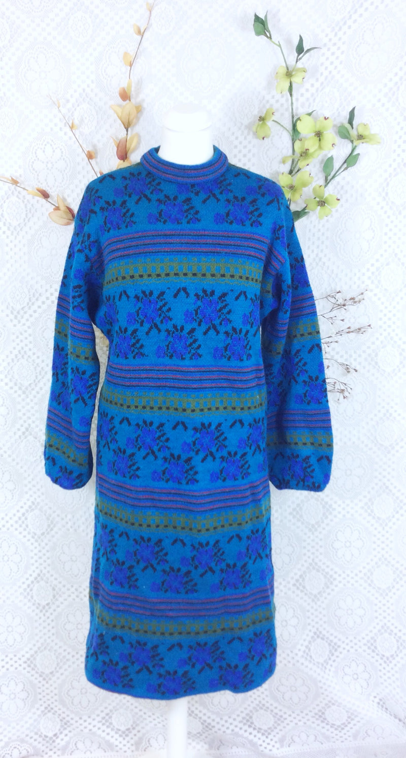 Vintage blue knitted wool jumper dress (lined) size 8-12