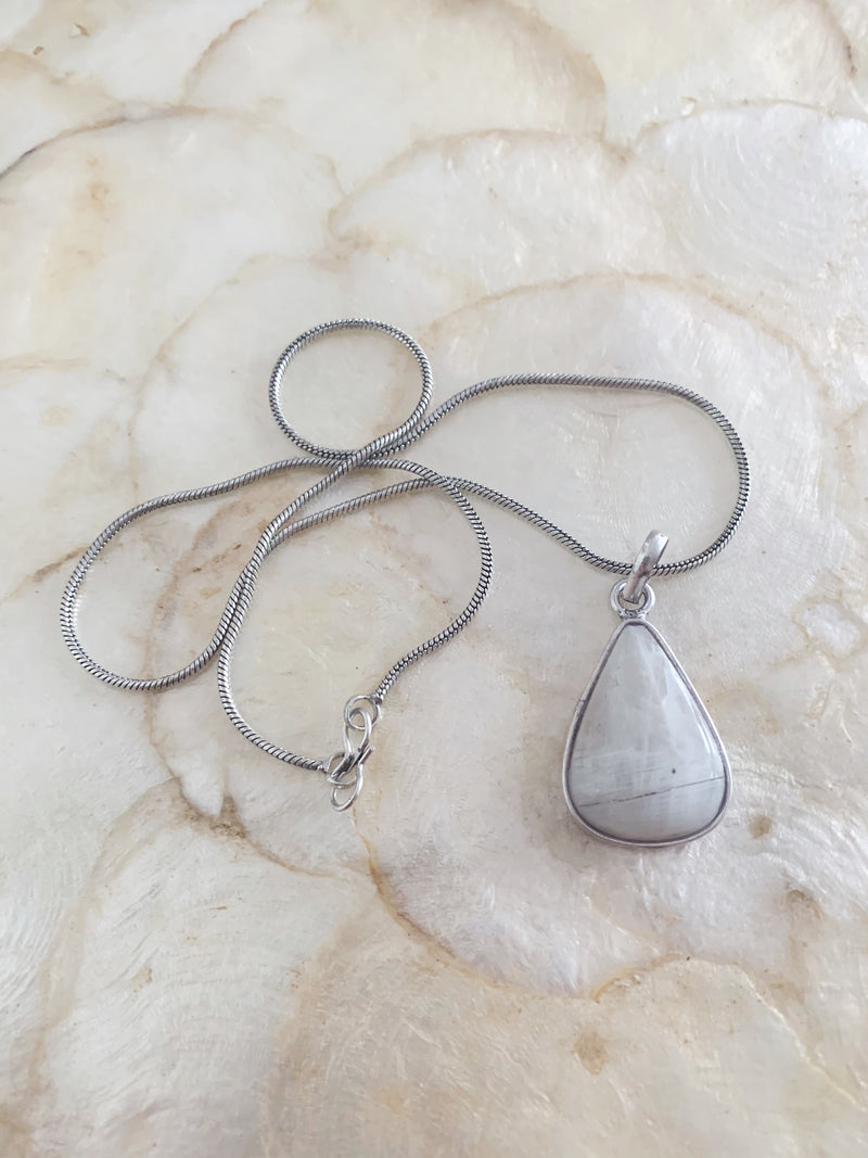 Silver Coloured Moonstone Necklace Pendant