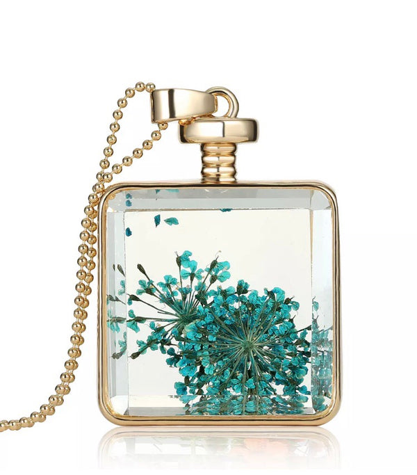 Boho dried flower square pendant necklace - blue