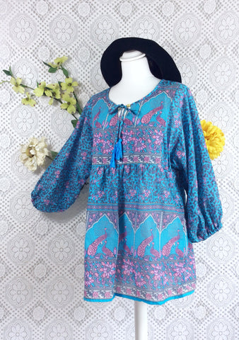 SALE - Blue / Pink / Lilac Indian Peacock Paisley Smock Top - Cotton - Size S/M